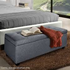 Ottoman Storage Bed Frame by Blanket Box Ottoman Storage Linen Fabric Foot Stool Chest Toy Bed
