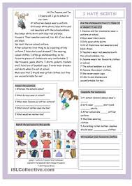 reading and vocabulary ws on clothes esl worksheets english