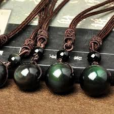 pendant necklace bead images Natural obsidian lucky crystal bead ball pendant necklace jpg