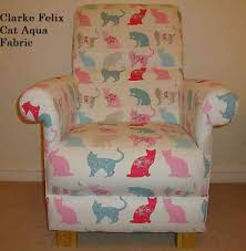 Childs Pink Armchair Clarke U0026 Clarke Felix Cat Fabric Chair Aqua Blue Pink Armchair