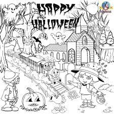 happy halloween coloring pages online coloring page