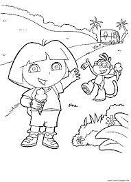 dora boots enjoying ice cream s7384 coloring pages printable