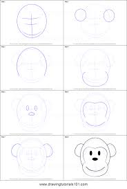 how to draw a monkey cartoon face printable step by step drawing
