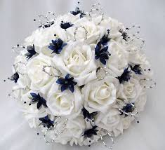 Blue Wedding Flowers Artificial Wedding Flowers Brides With 2 Bridesmaids Posy