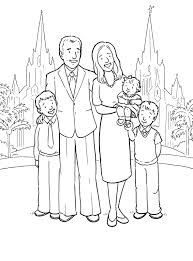 a happy family at the san diego temple primary coloring page