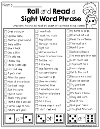 roll and read sight word phrases tons of fun and hands on