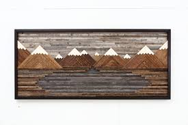 custom made wood wall mountain landscape 48 by
