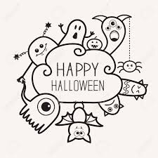 happy halloween pumpkin clipart happy halloween contour outline doodle ghost bat pumpkin