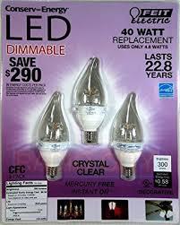 Decorative Chandelier Light Bulbs by Feit 4 8 Watt U003d 40 Watts Led Candelabra Light Bulbs 3 Pack 3000k