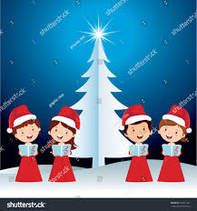 children christmas performance happy children singing stock vector