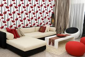 Poppy Wallpaper Modern Living Room Detroit By The Detroit - Poppy wallpaper home interior