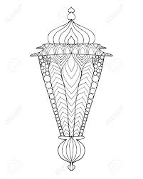 hand drawn traditional lantern of ramadan engraved vector