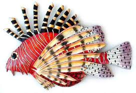 lionfish firefish tropical fish hand painted metal wall decor