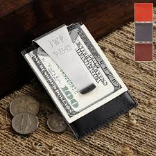 engraved classic leather money clip and credit card holder