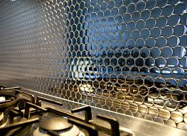 Metallic Tile Backsplash by Stainless Steel Circles Stainless Steel Steel And Kitchens