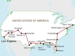 Hop On Hop Off Los Angeles Route Map by Great American Road Trip A 26 Day Tour From La To Nyc