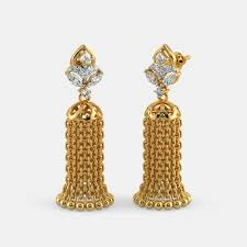 gold jhumka earrings buy yellow gold jhumka earring designs online in india 2017