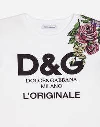 t shirt originale printed cotton t shirt with patch dolce u0026gabbana