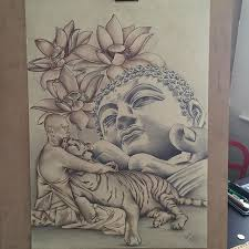 mulpix derwent graphitint buddha tiger pencil drawing lotus