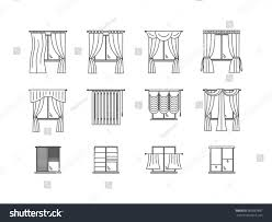 curtains types thin line icon set stock vector 503887897