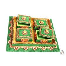 fruit boxes papermache tray with 4 fruit boxes