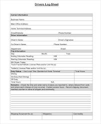 Driver Log Sheet Template 39 Free Log Templates