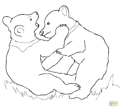 grizzly bear cubs playing coloring page free printable coloring
