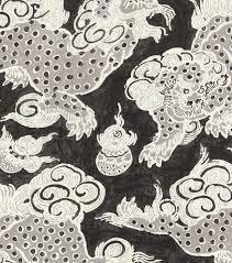 home decor print fabric williamsburg dunmore dragons black orchid