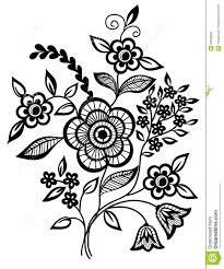 black and white flowers and leaves design element royalty free