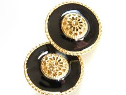 post style earrings classical vintage button style black gold tone post earrings