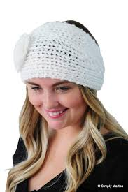 crochet headband ear warmer headband in white winter headband knit headband