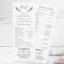 Easy Wedding Program Template Rustic Wedding Program Template Rustic Wedding Programs