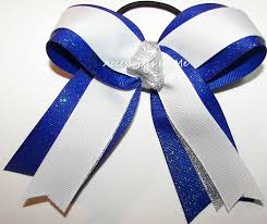 ribbon for hair that says gymnastics gymnastics hair bow dance ribbon white silver blue sparkly ponytail