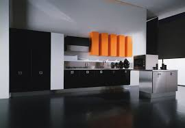 Black Lacquer Kitchen Cabinets by Kitchen Contemporary Black Kitchen Floating Cabinet With Orange