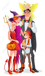 cute cartoon family with three kids in halloween costumes vampire