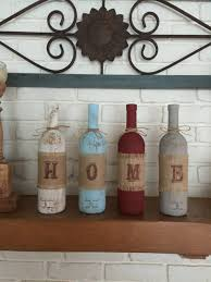 Home Decor Centerpieces Home Wine Bottle Mantle Or Shelf Decor Rustic Home Decor Wine