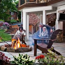 Fire Columns For Patio Paver Patio With Fire Pit And Open Porch Archadeck Outdoor Living
