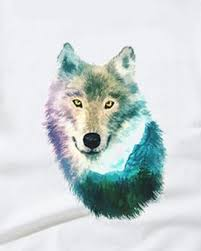 watercolor wolf t shirt for mountain and tree design tops