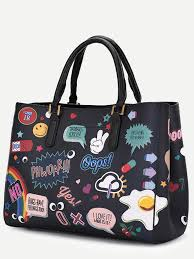 black pu cartoon print tote bag with clutch shein sheinside