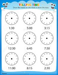 telling time worksheet for pre kids to identify the time