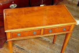 Yew Side Table Bench Made Inlaid Pippy Yew Wood Two Drawer Side Table