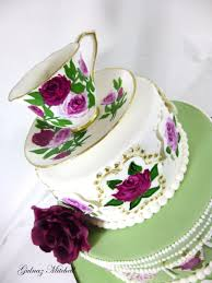 High Tea Party Decorating Ideas Free Hand Painted English High Tea Theme Cake With Hand Painted