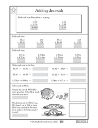 adding decimal numbers worksheet free printable 5th grade math worksheets word lists and