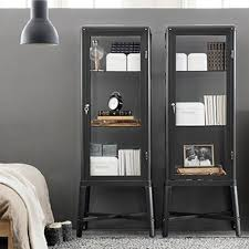 Curio Cabinet Ikea by Amazon Com Ikea Fabrikor Glass Door Cabinet Dark Gray Lockable
