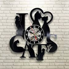 creative clocks vinyl record clock cat theme wall watch vintage retro classic
