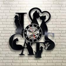 creative clocks vinyl record clock cat theme wall watch vintage retro classic