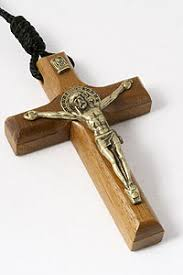 wooden crucifix st benedict 3 wood crucifix necklace black rope rosarycard net