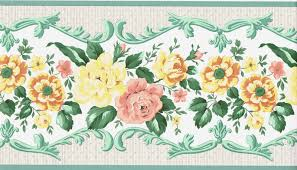 Wall Border Paper Victorian Green Scroll Leaf Yellow Rose Flower Floral White Wall