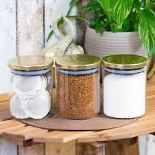 3 x glass storage jars gold lids tea coffee sugar canisters