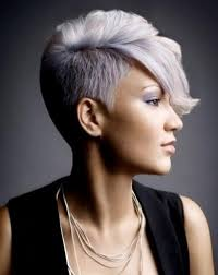 short styles for grey hair streaked half shaved pixie hairstyle with grey and pink colouring 1 hair